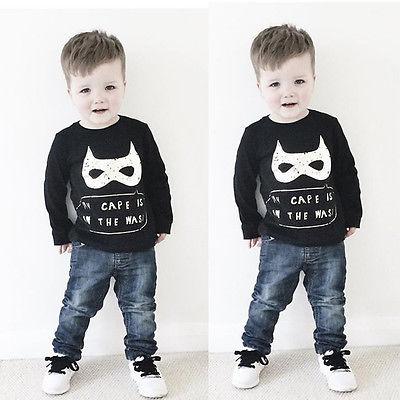 Batman Mask Cape Kids Baby Boy Long Sleeve T Shirt