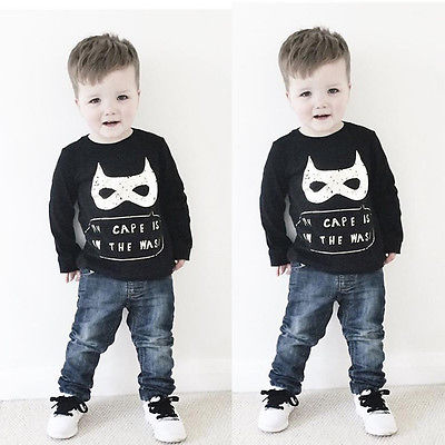 2016 Batman mask cape Kids Baby Boy Long Sleeve Jumper Sweatshirts Toddler t-Shirt Tops Clothes My Cape Is In the Wash Printed