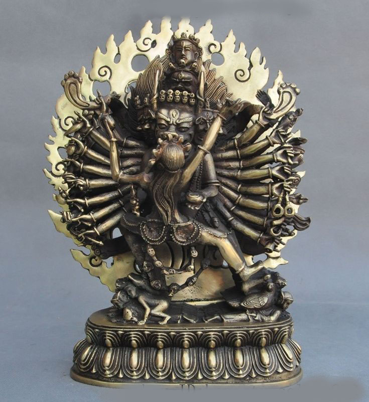 Christmas 12Tibet Buddhism brass 1000 arm Yamantaka Hayagriva Exorcism God Buddha Statue wedding decoration