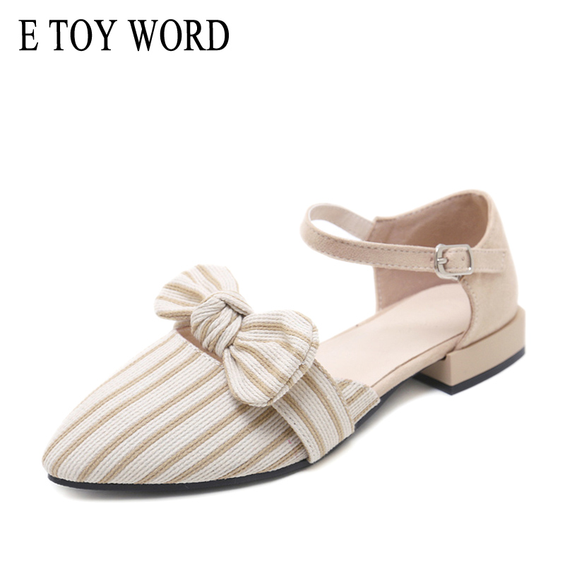 E TOY WORD 2019 New Women Shoes Pointed Toe Bow hollow sandals female word buckle low heels baotou striped