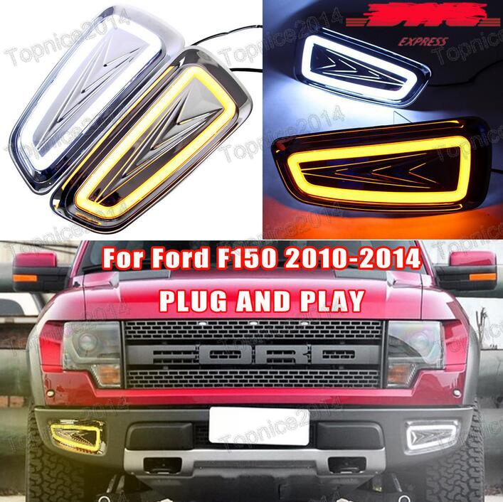 2x White + Yellow LED DRL Daytime Running Lights With Turning Light Driving Fog Lamps For Ford Raptor F150 2009-2014