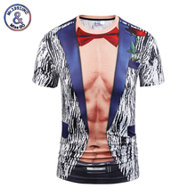 Mr.1991INC&Miss.Hot 2017 Mens Fashion 3D Printing T shirt Muscle Tie Summer Short Sleeve Tops Tees Funny Fake Two Piece Tshirt