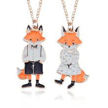 Popular Cute Cartoon Lady Fox Mr. Fox Couple Necklace Pendant Enamel Metal Animal Necklace Men And Women Couple Jewelry Gift azora my fox lady rose gold color austrian rhinestone paved fox pendant necklace and earring set tg0074