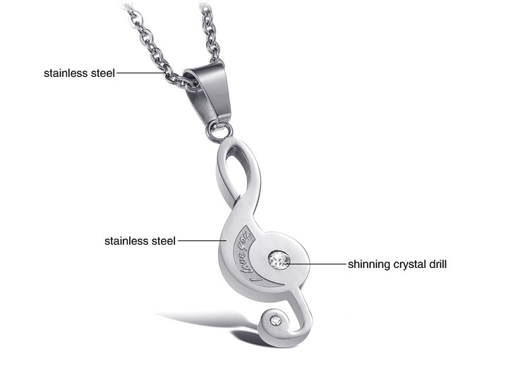 Lovers 39 2pcs Stainless Steel I Love You Music Note Engraved Couple Music Note Chain Puzzle Pendant Necklace For Best Friends in Pendants from Jewelry amp Accessories