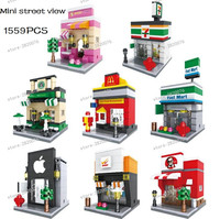 8 in 1 Mini Retail Store Building Block Scene Architecture Model Toys Supermarket McDonald HSANE toys for children 1559pcs