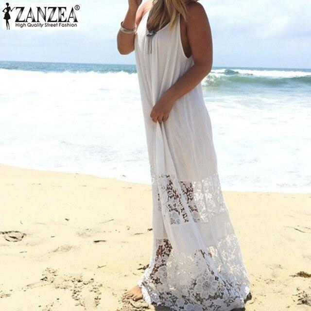 ZANZEA Женщины 2016 Лето Кружева Случайные Свободные Длинные Макси Твердые Платье Sexy Бретелек Пляж Платья Плюс Размер Рукавов Vestidos