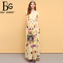 купить Baogarret Summer Fashion Designer Dress Women's Bow Tie Ruffles Floral Printed Side slit Elegant Party Ladies Long Dresses дешево