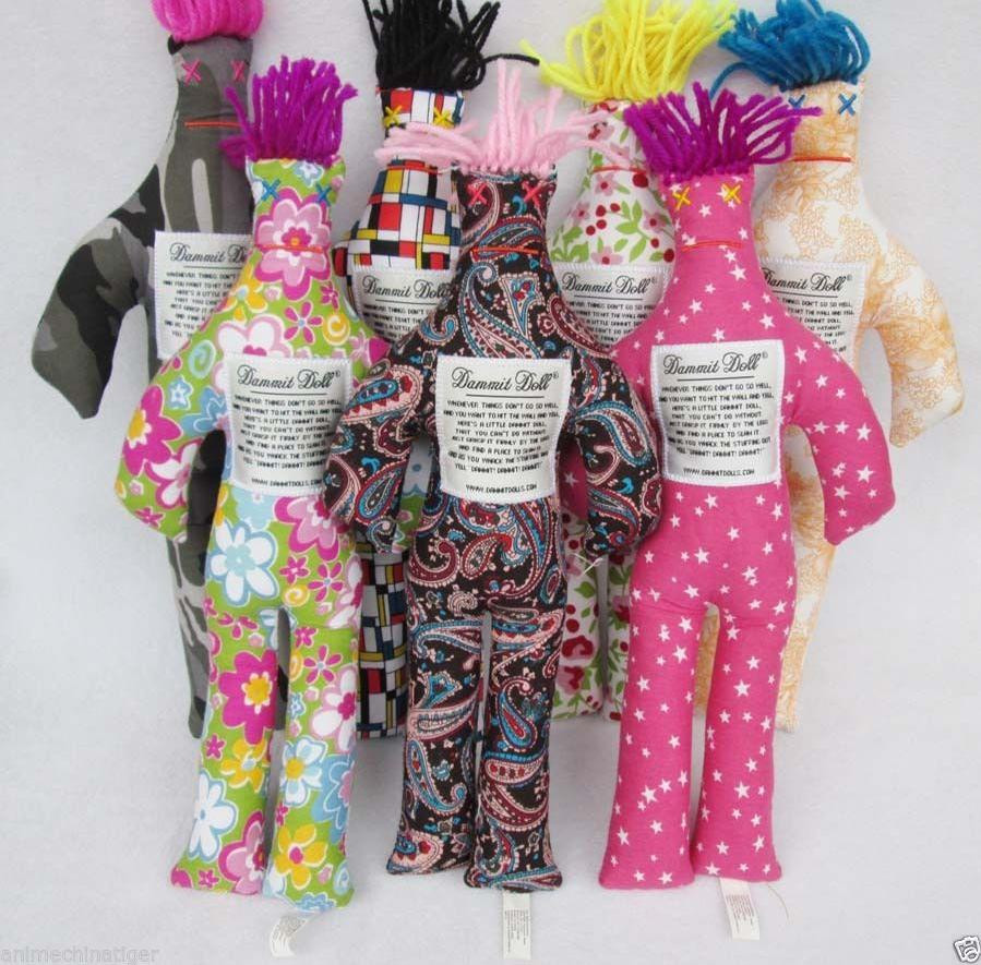 """NEW Random Pattern Color Stress Relief 12/"""" Dammit Doll Plush toy 1pc Key Chain"""