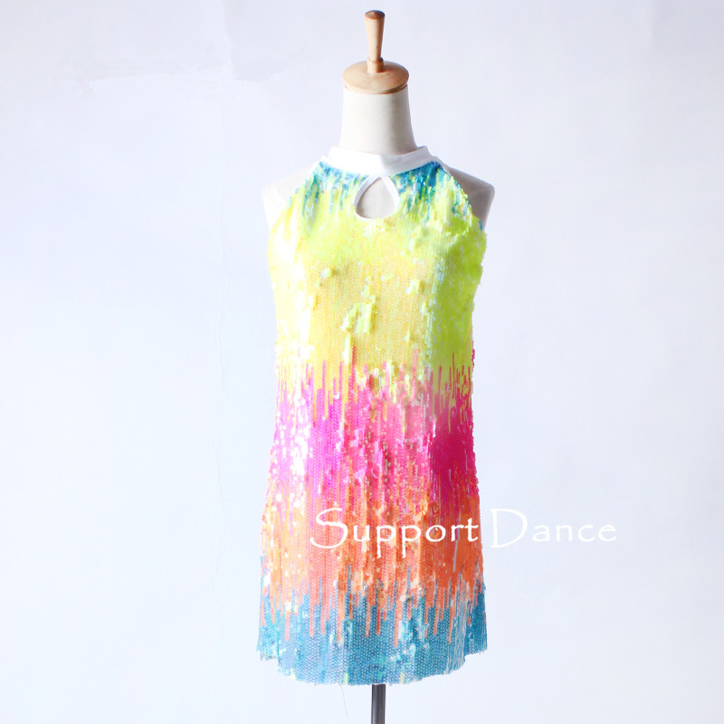 Girls Sequin Latin Dress Women Colorful Gradual Change Jazz Contemporary Performance Costume Support Dance C321