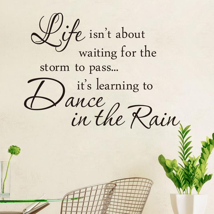 2017NEW Proverb Wall Decor Inspirational Wall Decals Vinyl Wall Stickers Quotes  Life Is Learining Dance In The Rain Wall Sticker In Wall Stickers From Home  ...