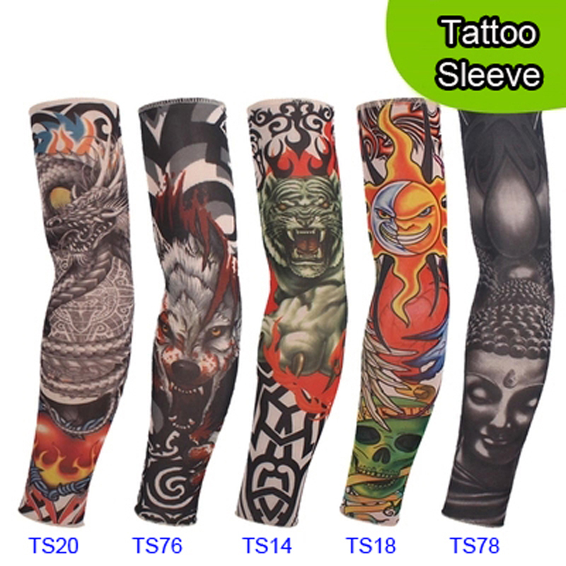 5 PCS new mixed 92%Nylon elastic Fake temporary tattoo sleeve designs body Arm stockings tatoo for cool men women