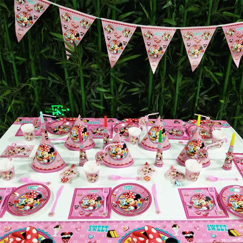 Disney Minnie Mouse Happy Birthday kids Party Decoration Baby Shower Cartoon Paper Party Supplies Kids Birthday Party Decoration