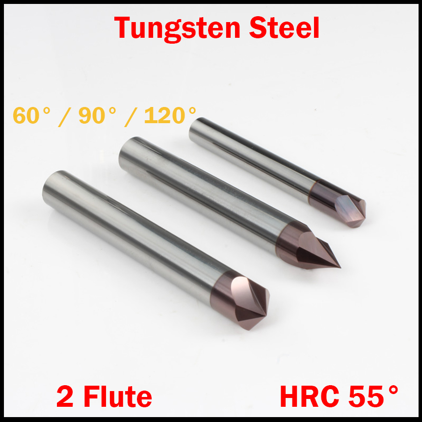 8mm 10mm 12mm OD 60 90 120 Degree Carbide HRC55 CNC Cutting Tool Straight 2 Flute Chamfer End Mill Countersink Milling Cutter 12mm x 60 degree hss dovetail cutter end mill