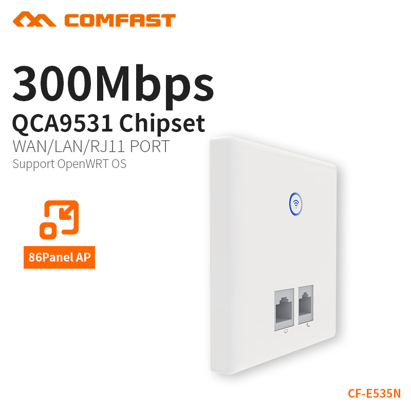COMFAST 300Mbps Wall Embedded AP Telephone RJ11 + RJ45 Port AP Router 2.4G In-wall Wireless WIFI Access Point 86 Panel CF-E535N