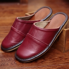 Classic Couple's Indoor Slippers Genuine Leather Solid Color Spring Slippers Anti-Slip Super Soft Home Shoes for Men and Women