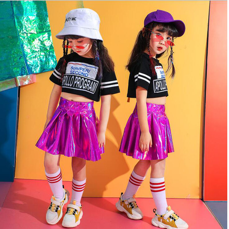 Kids Jazz Dancing Costumes Girls Performance Ballroom Hip Hop Dance Clothes T Shirt Tops  Pink Skirt Children Dance Outfits