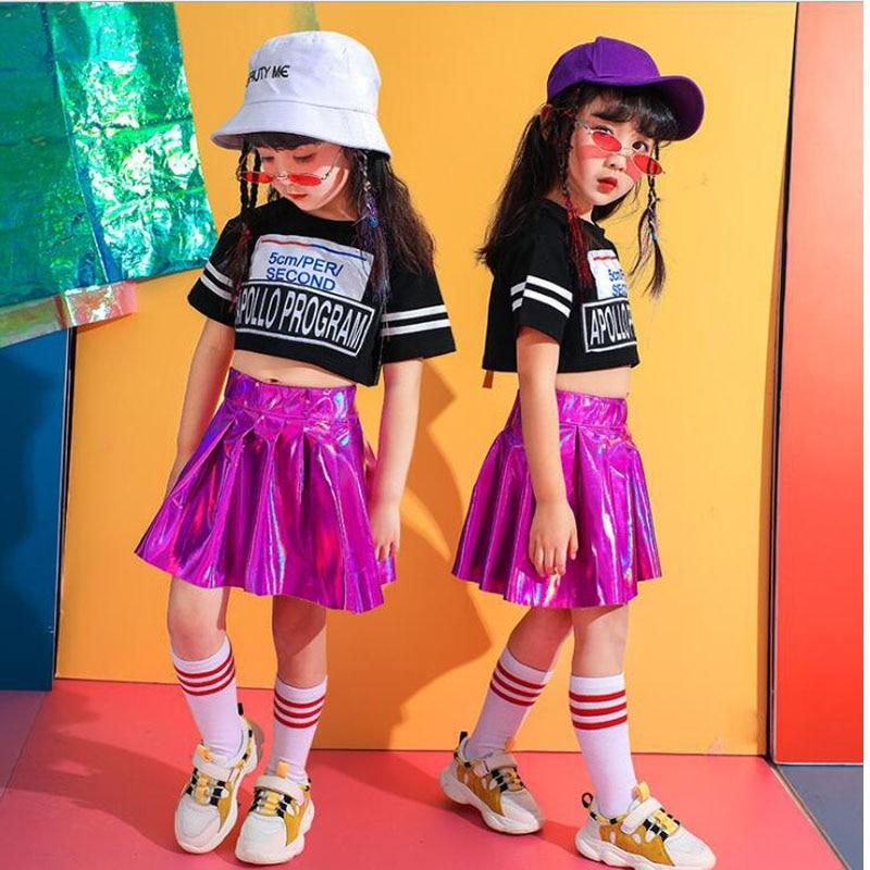 Kids Jazz Dancing Costumes Girls Performance Ballroom Hip Hop Dance Clothes T Shirt Tops  Pink Skirt Children Dance Outfits