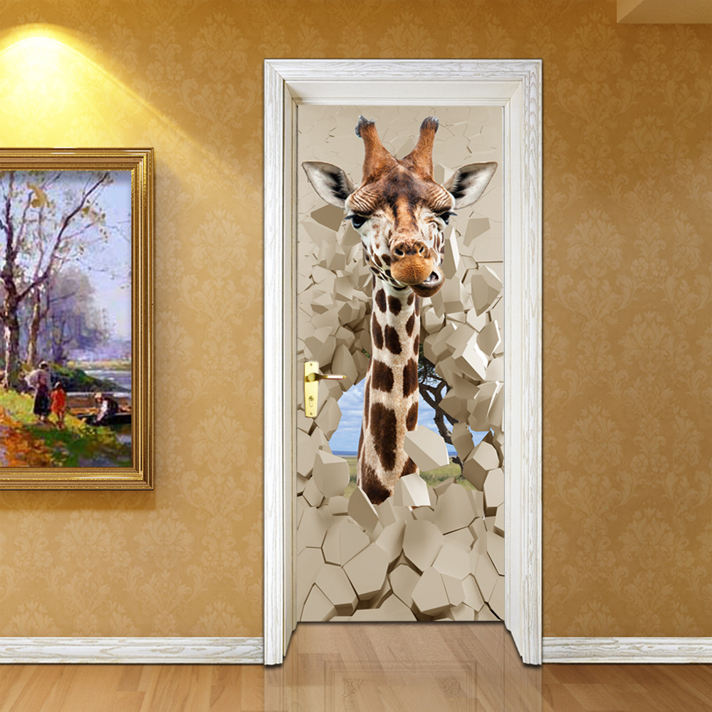 PVC Waterproof Self-adhesive Stickers PVC 3D Photo Wallpaper Cartoon Giraffe Creative Poster Door Mural Wallpaper Kid's Bedroom pacgoth creative pvc waterproof cute