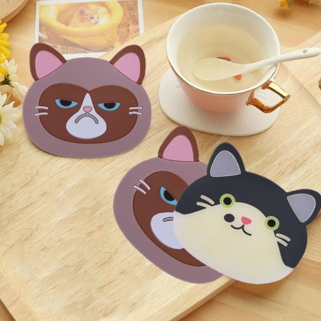 1Pc Cartoon Cat Silicone Coasters