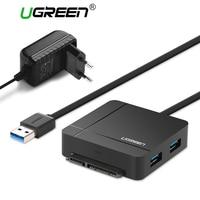Ugreen USB 3,0 на SATA кабель с адаптером питания для 2,5 3,5 HDD SSD жесткий диск SD/TF кардридер 3,0 концентратор USB Sata адаптер