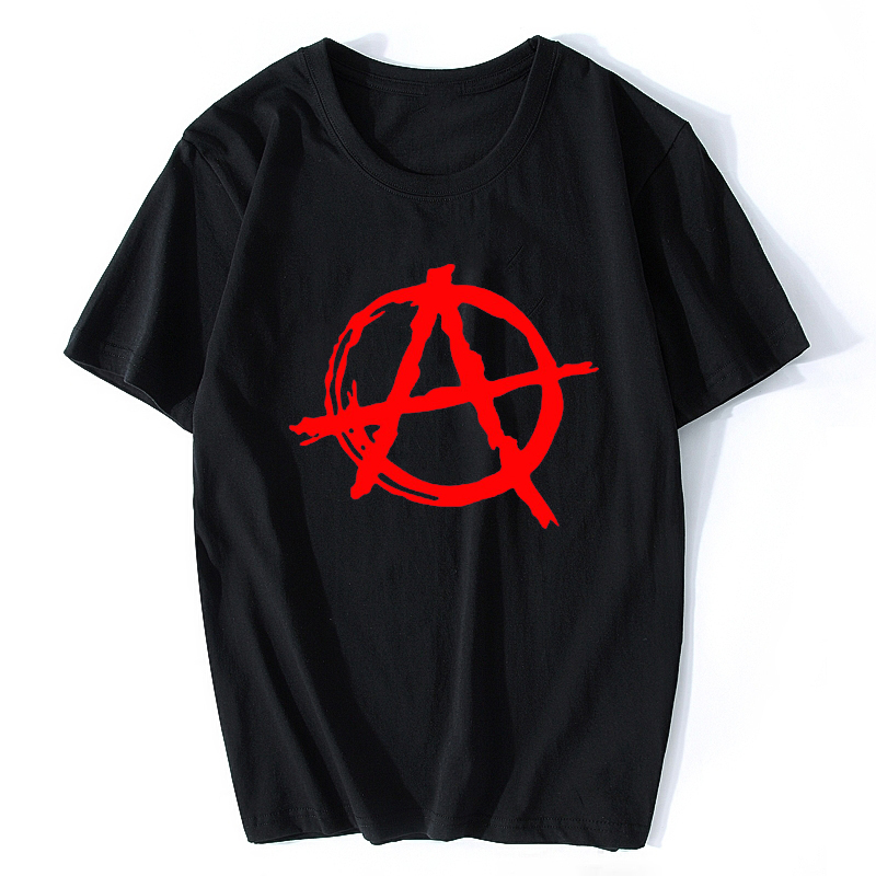 Anarchy Symbol T Shirt - Punk Rock T Shirt Bedlam Evil Anarchist War Rocker Cotton Cool Hip Hop O Neck  Men T Shirt