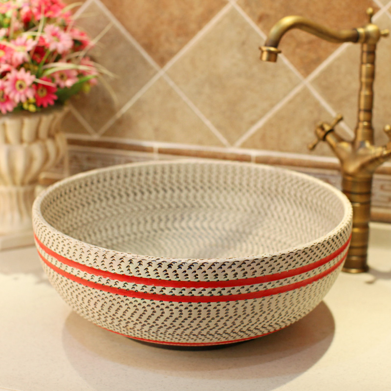 Red Thread pattern porcelain bathroom vanity bathroom sink bowl countertop  Ceramic wash basin bathroom sink(