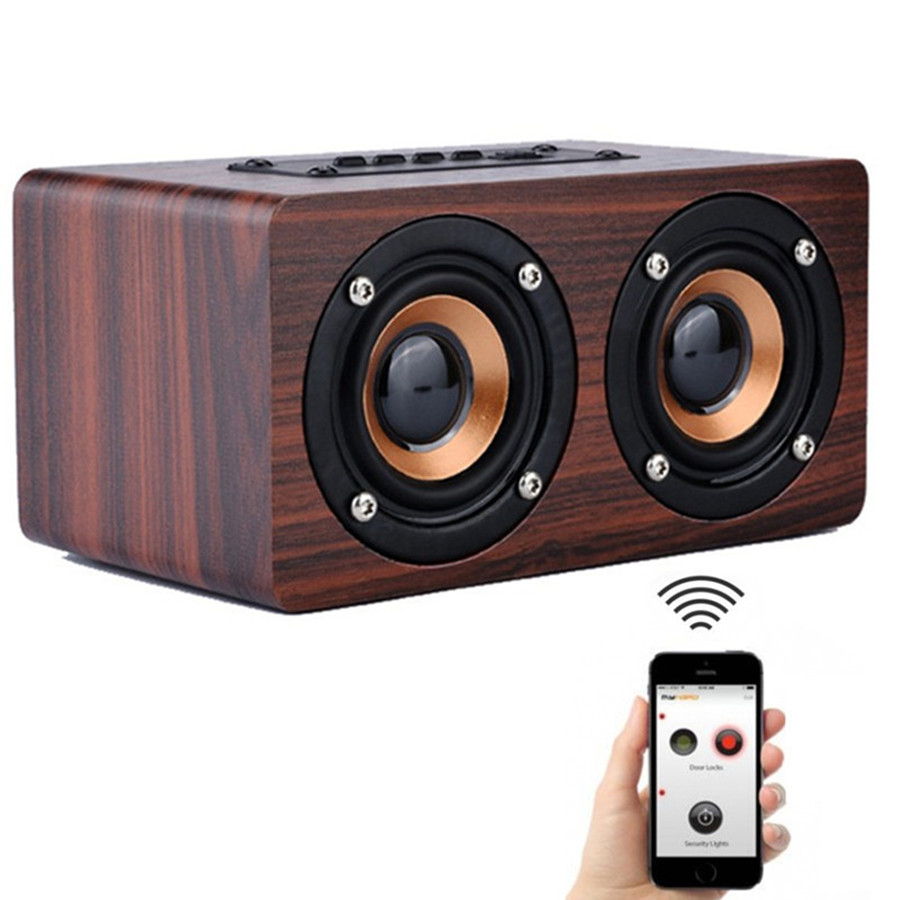 30 pcs/lot Wooden Bluetooth Speaker w5 HIFI Wireless Speaker 3D Dual Loudspeakers Surround Mini Portable bluetooth USB Charging