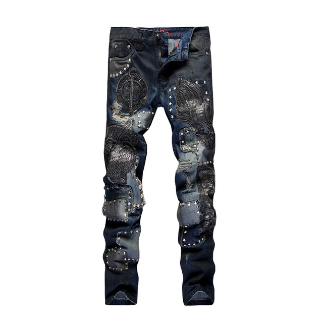 ABOORUN Mens Punk Jeans Rivet Patch Jeans Multi Rivets PU Leather Patchwork Straight Jeans for Male Nightclub Singers x549