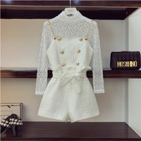 2019 New Spring Women's Long Sleeve Basic Lace Shirt Tops + High Waist Metal Chain Playsuit Shorts Two Piece Retro Shirts Set
