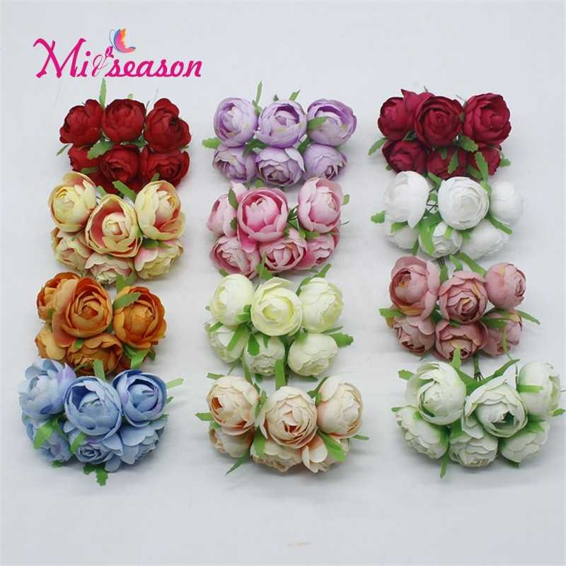 6PCS/LOT Mini Artificial Tea Rose Flowers For Bride Wrist Wedding Home Decoration Scrapbooking DIY Craft Supplies Accessories