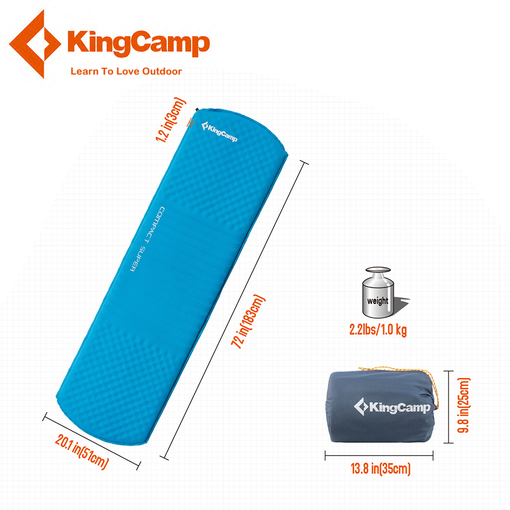 KingCamp Self-Inflating Ultralight Sleeping Pad Damp-proof Durable Camping Mat Outdoor Cushion Hiking Backpacking Travel цены онлайн