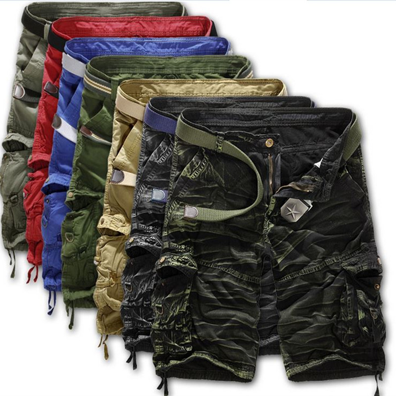 Hot Summer Style Shorts Men Casual Loose Knee Length Cargo Shorts Plus Size Multi pocket Military