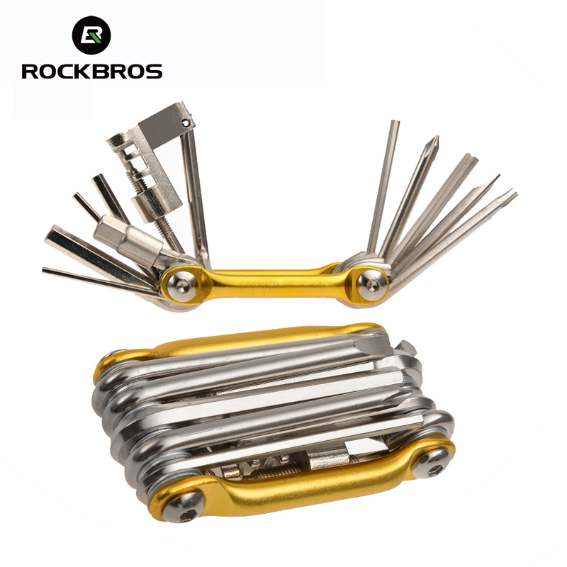Rockbros Bike Tools Portable 11 in 1 Alloy Steel Multi-Function Folding Mini Pro Cycling Bicycle Pocket Repair Tools Kit Set