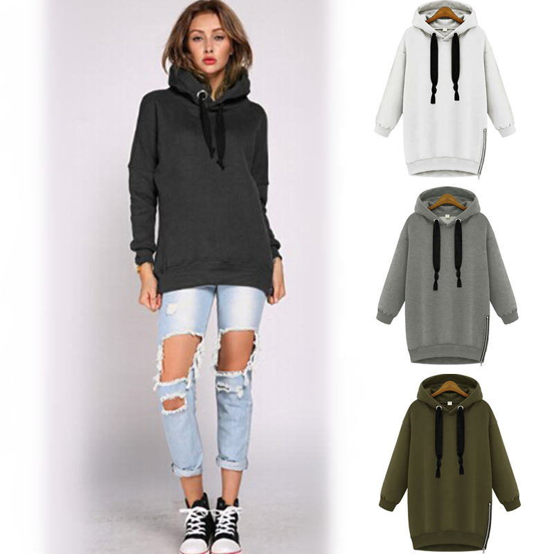 2015 Fashion Women Drawstring Hoodie Zip Up Zipper Side Split Slit Hoodies Military Outfits ...