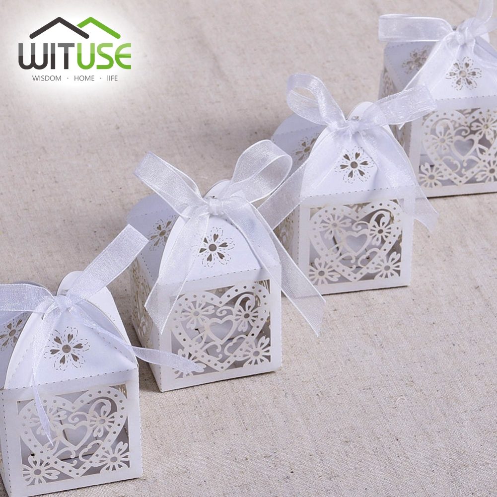 WITUSE 100X Love Heart Wedding Candy Box Sweets Gift Favor Boxes ...