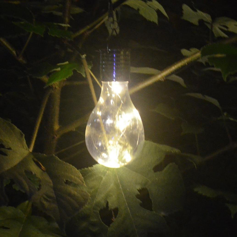 New Transparent Warm White Solar Light Can Rotate Outdoor Garden Camping Hanging Lamp LED Bulb Waterproof Home Garden Decoration