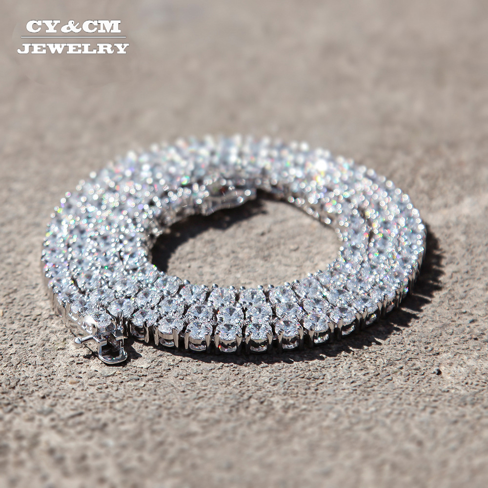 CY&CM Mens Hip Hop Tennis Chain Necklace Iced Out 1 Row 3mm-5mm Cubic Zirconia Link Choker Gold Silver Color CZ Jewelry 18-20CY&CM Mens Hip Hop Tennis Chain Necklace Iced Out 1 Row 3mm-5mm Cubic Zirconia Link Choker Gold Silver Color CZ Jewelry 18-20