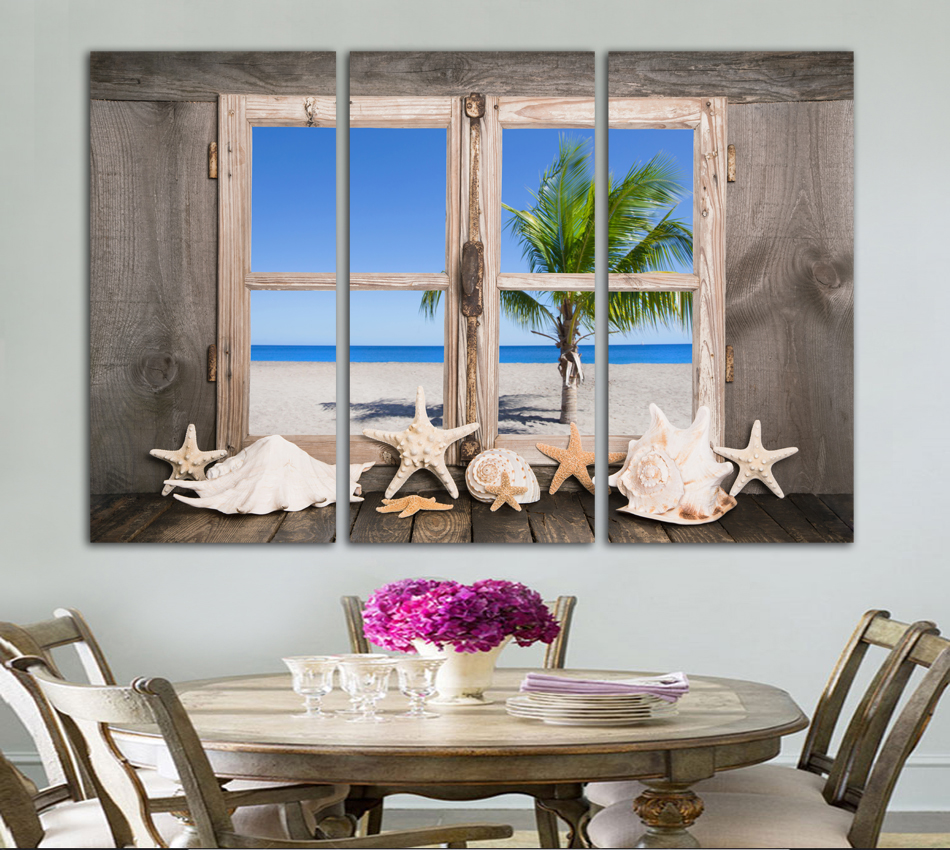 Selling Canvas Painting Shell Landscape Home Decor Seaview