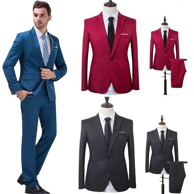 9a7a428f4062 € 16.45  Los hombres traje de boda traje de hombre chaquetas y americanas  Slim trajes para hombres traje de negocios Formal de trabajo, de fiesta, ...