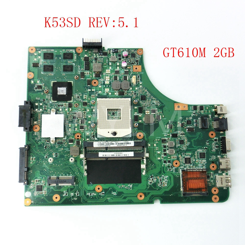 K53SD GT610M 2GB USB3.0 mainboard REV5.1 For ASUS K53S X53S A53S K53SD P53S Laptop motherboard 60-N3EMB1300-D2 free shipping 60 n3emb1300 d14 k53 k53sd rev 5 1 laptop motherboard fit for asus k53sd notebook pc 90days warranty