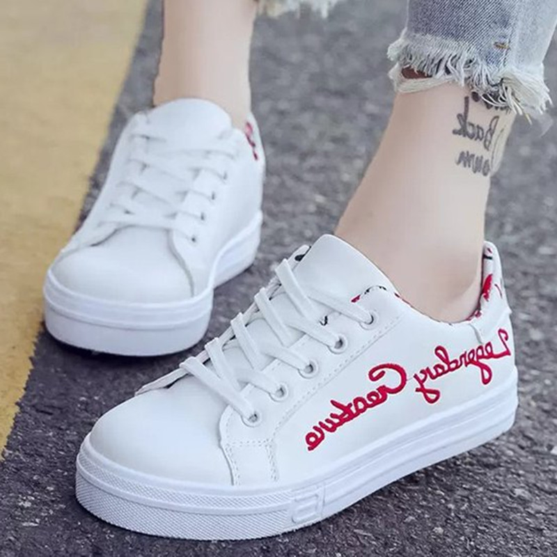 Spring Autumn Women Sneakers Fashion Embroidery Lace Up Flat Shoes Women Designer Letter Female Casual Breathable Platform Shoes