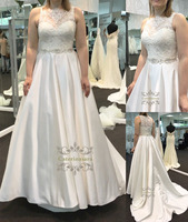 A Line Wedding Dresses Strapless Bride Gowns with Crystals Beadings O-Neck for Girls Womens Bridal Party Illusion Plus Size