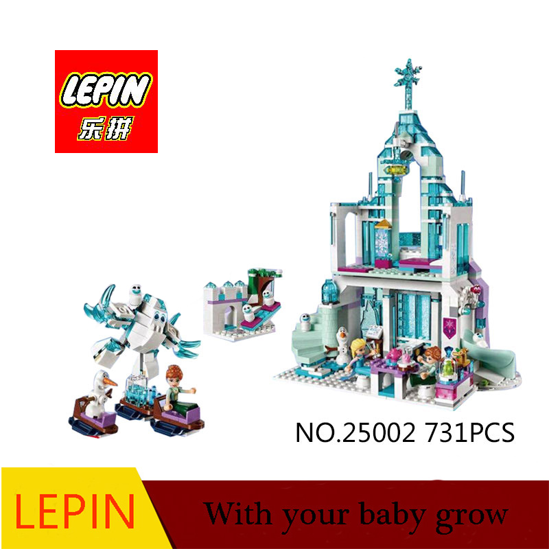 Lepin 25002 Elsa`s Magical Ice Castle 3D blocks Model building kits toy compatible with legoed 41148