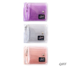 Transparent ID Card Holder PVC Folding Short Wallet Fashion Women Girl Glitter Business Cards Case Purse with Lanyard Sum