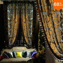 Customized curtain Euro Design Drapery Luxury Tulle high-grade velvet sheer curtain yarn silk velvet sheer Tulle Gold Black
