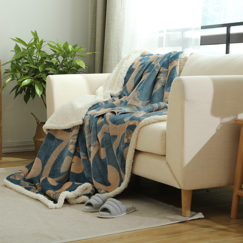 New fashion double thicker autumn and winter flannel wool blanket sofa / double bed sing ...