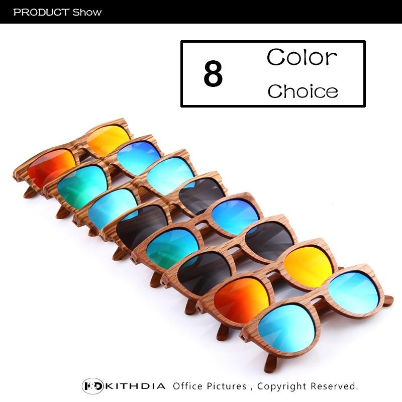 KITHDIA Real Zebra Polarized Handmade Bamboo Wood Sunglasses 14