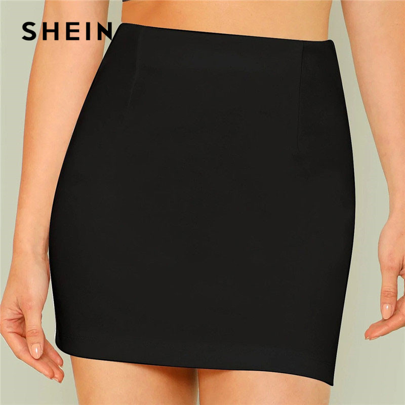 SHEIN Black Office Lady Solid Elegant Mini Bodycon Skirt Summer Mid Waist Women Going Out Short Minimalist Pencil Skirts 2