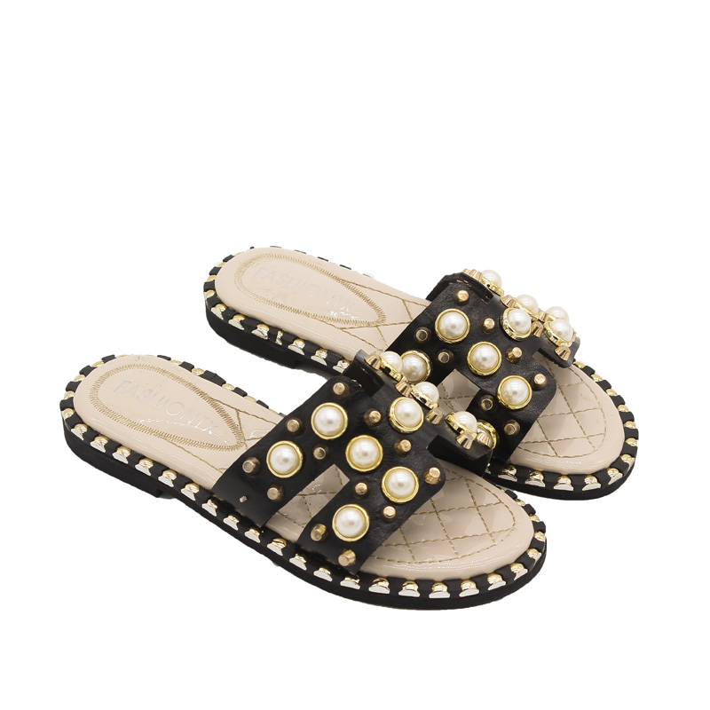 Baby Girls Shoes Summer Cute Princess Pearl Fashion Teenage Girls Indoor Slippers Kids Open-toe Anti-Slip Slippers for Children