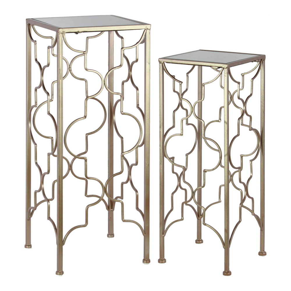 Urban Trends Metal Accent Table with Mirror Top and Square Base Set of Two Metallic FInish